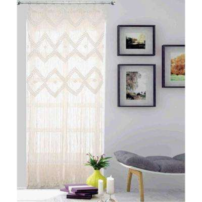 Woven Macrame 84 in. Natural Cotton String Single Window Curtain Panel