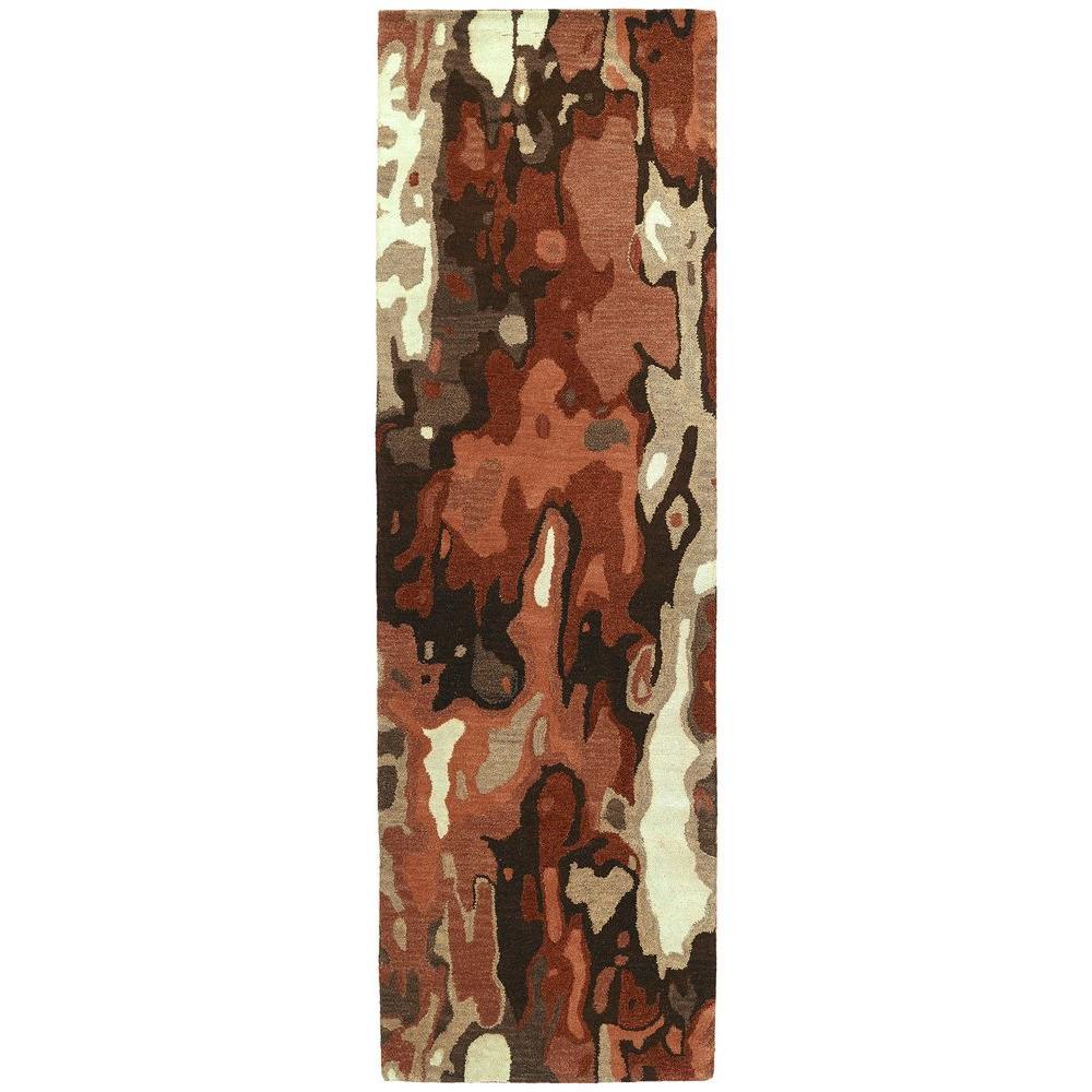 Brushstrokes Rust 3 ft. x 8 ft. Runner Rug