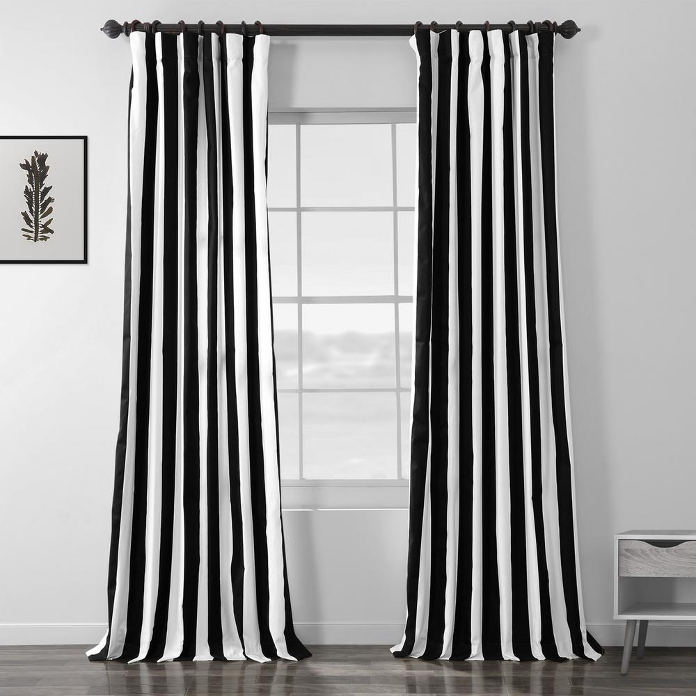 Cabana Black Room Darkening Printed Cotton Curtain - 50 in. W x 96 in. L