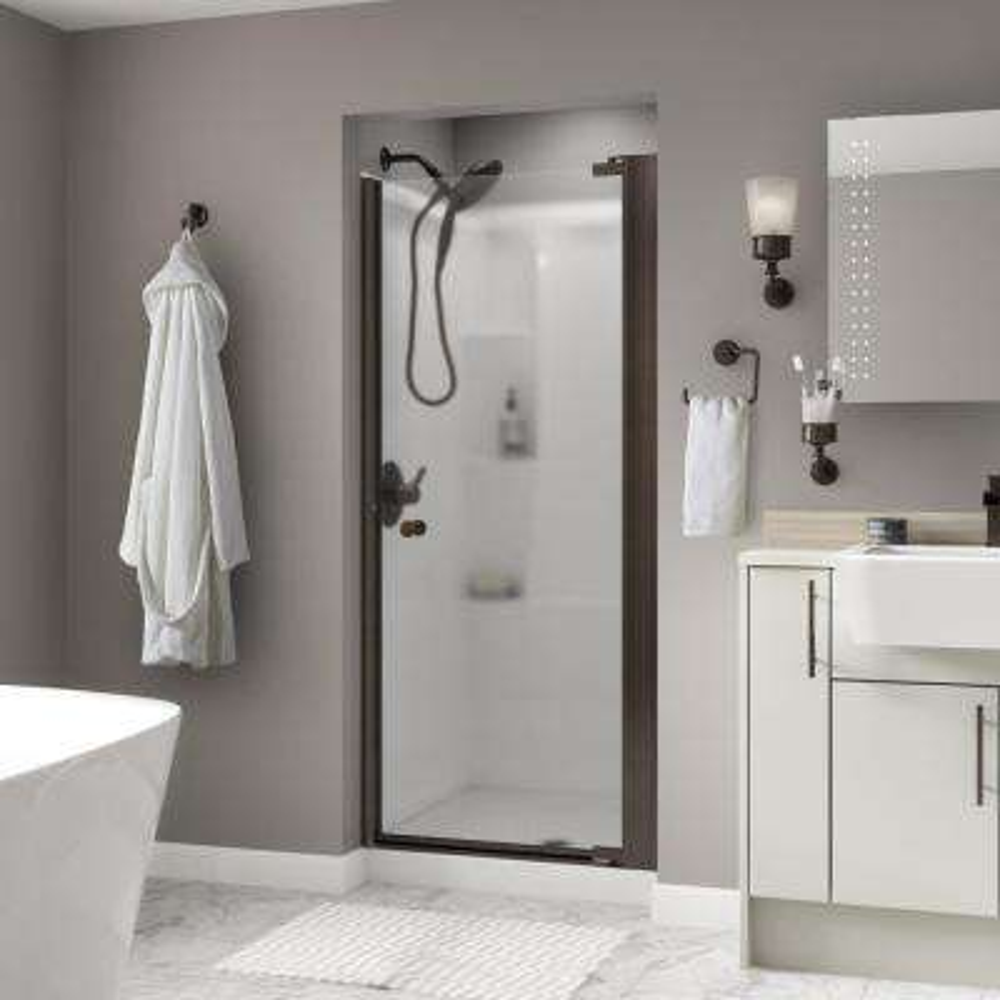 Lyndall 33 in. x 64-3/4 in. Semi-Frameless Pivot Shower Door in Bronze with Niebla Glass