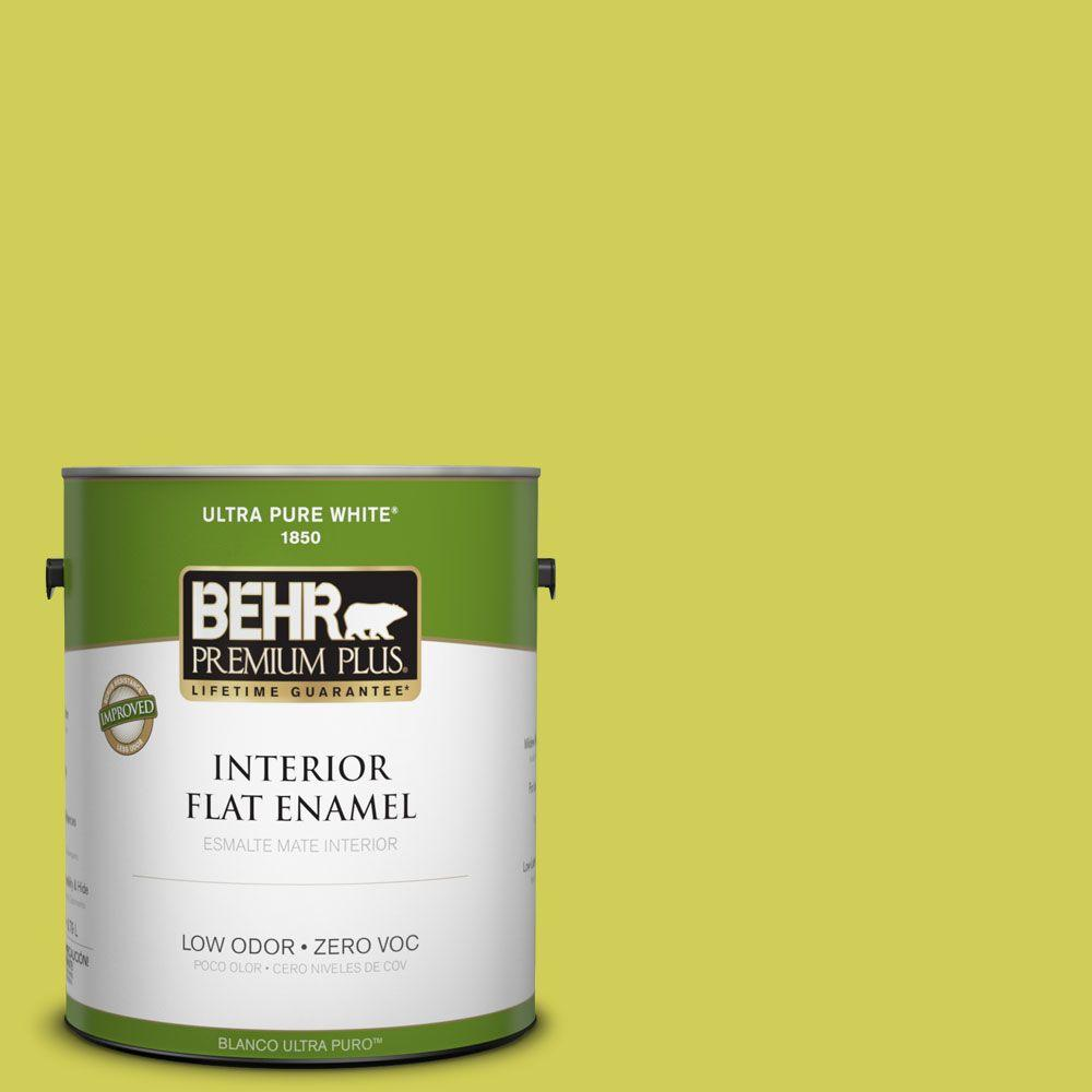 BEHR Premium Plus 1-gal. #400B-5 Grape Green Zero VOC Flat Enamel Interior Paint-DISCONTINUED