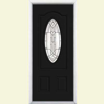 36 in. x 80 in. Chatham 3/4 Oval Jet Black Left Hand Inswing Painted Smooth Fiberglass Prehung Front Door w/ Brickmold