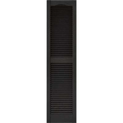 15 in. x 60 in. Louvered Vinyl Exterior Shutters Pair in #002 Black