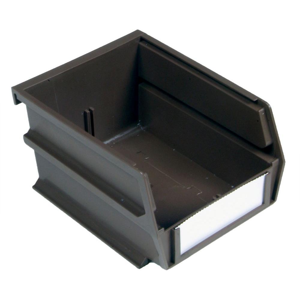 Triton Products LocBin 5-3/8 in. x 4-1/8 in. x 3 in. Stacking, Hanging, Interlocking Polypropylene Bin in Brown (24-Piece)