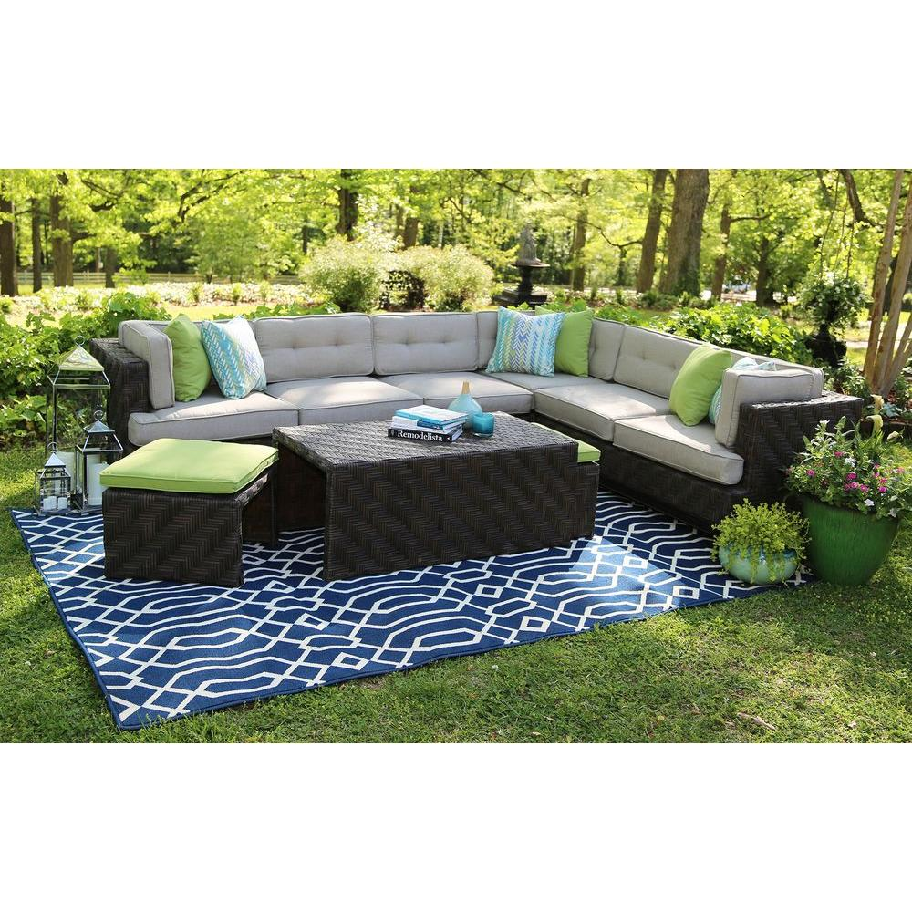AE Outdoor Canyon 7 Piece All Weather Wicker Patio Sectional With Sunbrella  Fabric