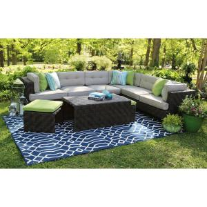 AE Outdoor Canyon 7-Piece All-Weather Wicker Patio Sectional with Sunbrella Fabric by AE Outdoor