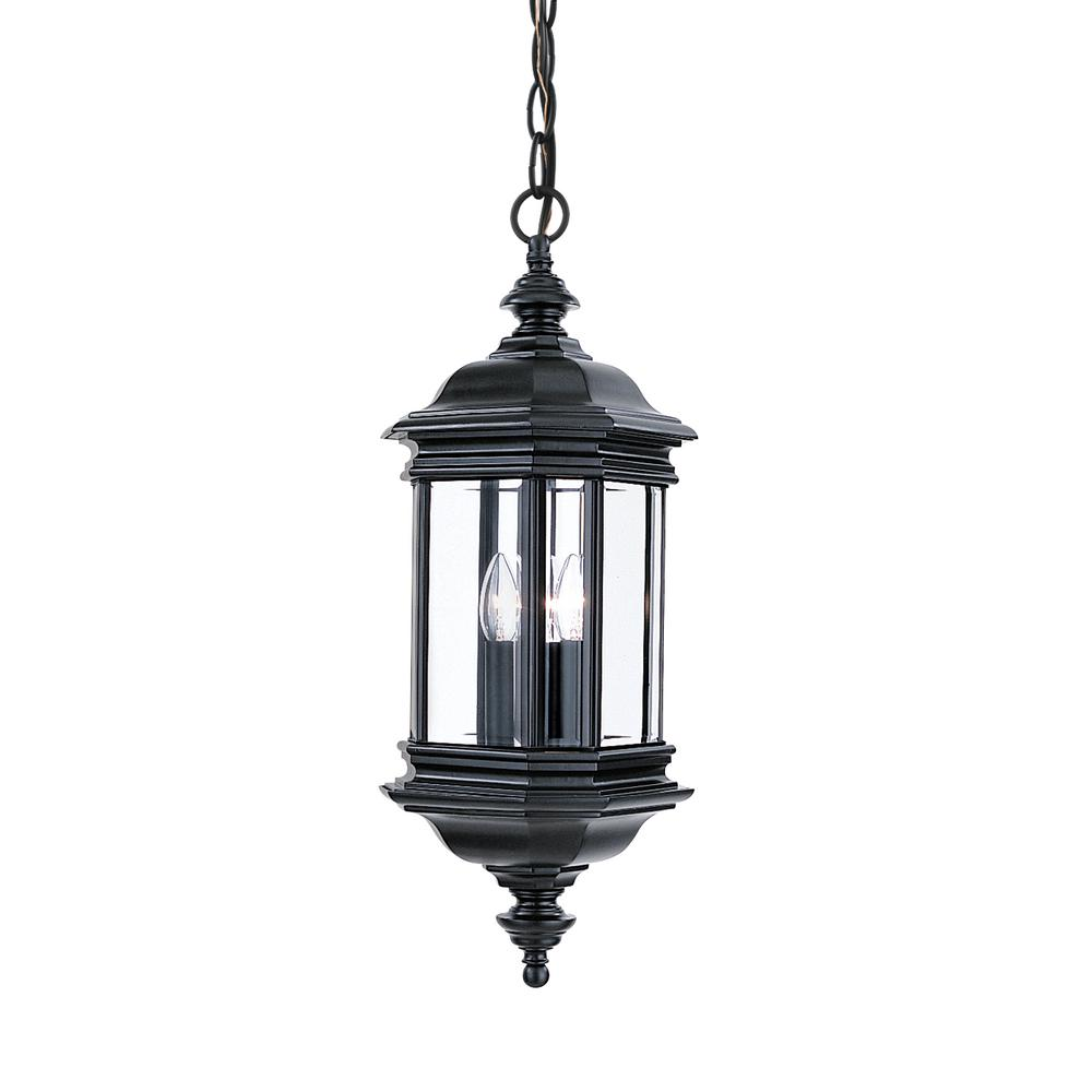 Porch Light Pendant: Sea Gull Lighting Hill Gate 3-Light Outdoor Black Hanging