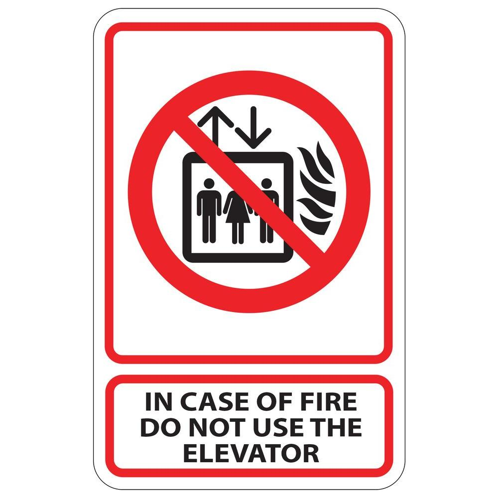 rectangular plastic in case of fire do not use the elevator sign pse