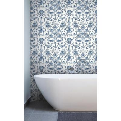 56 sq. ft. Tailored Deep Sea Toile Wallpaper