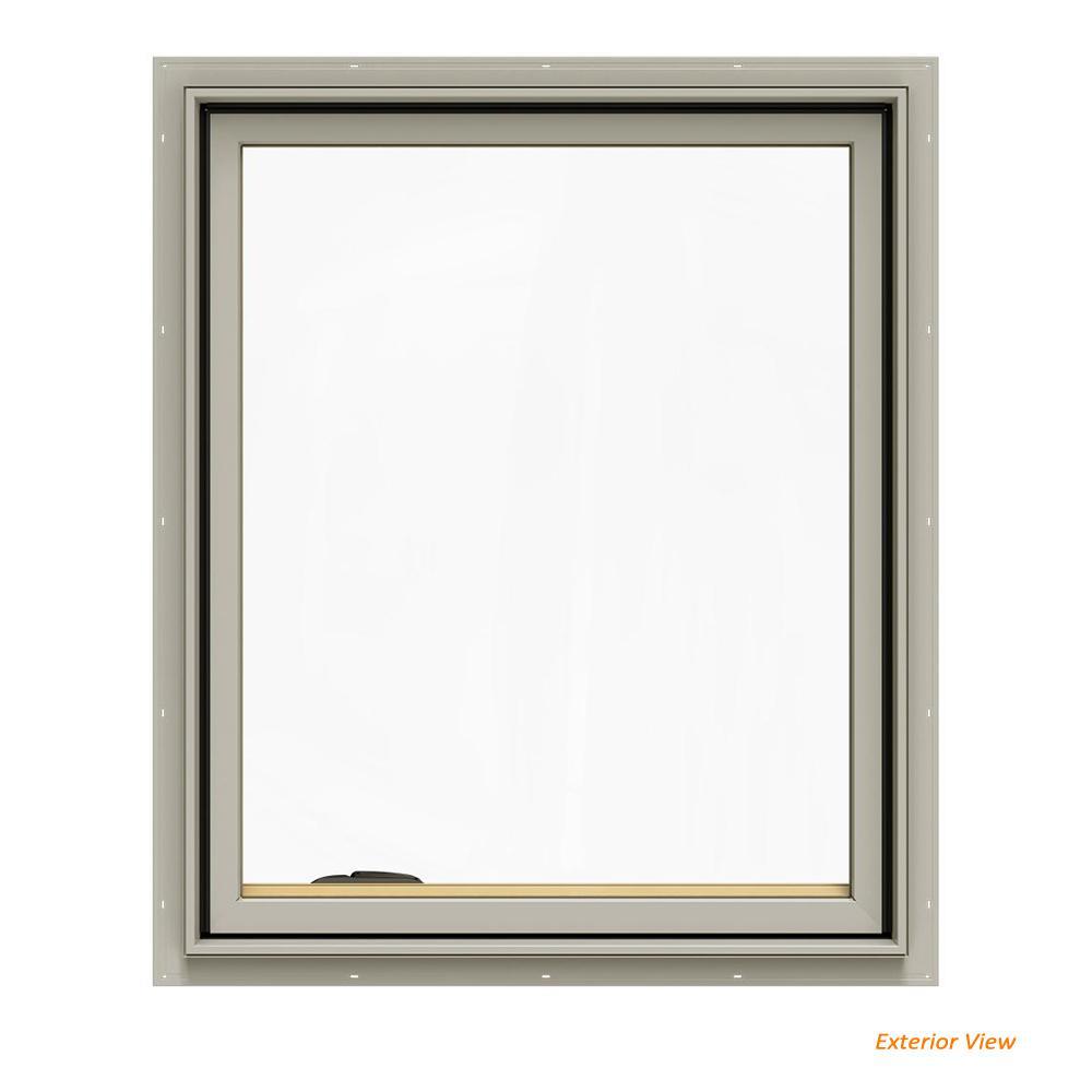 JELD-WEN 30.75 in. x 36.75 in. W-2500 Series Desert Sand Painted Clad Wood Left-Handed Casement Window with BetterVue Mesh Screen