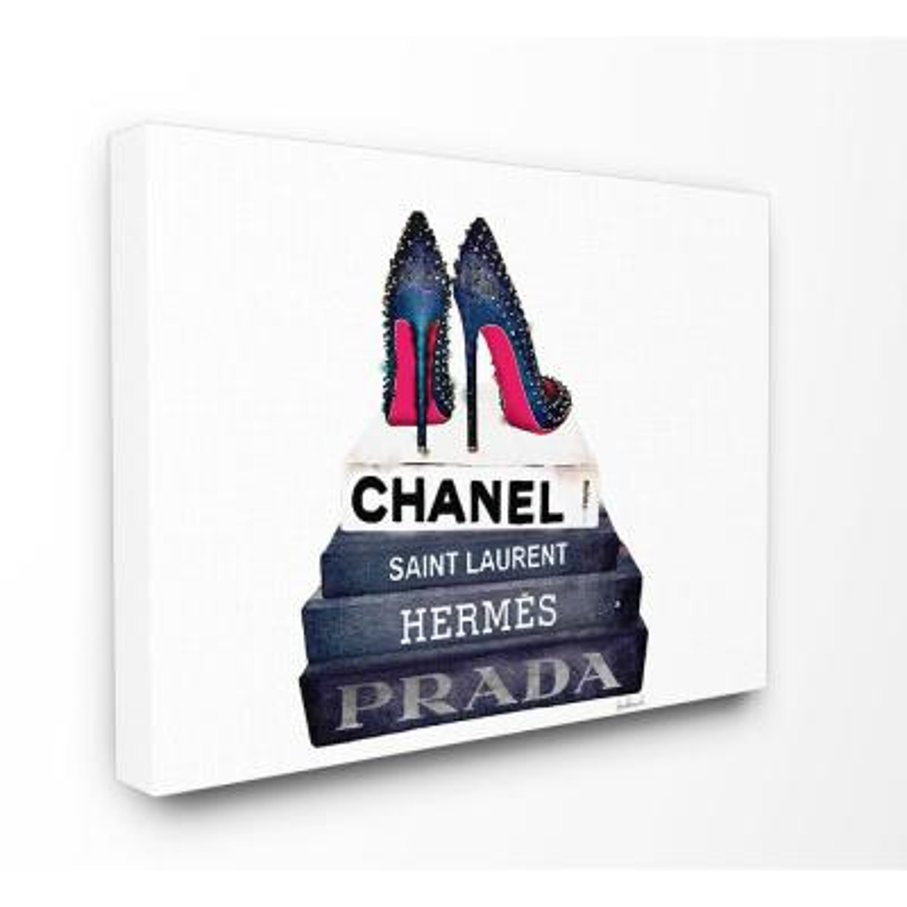 "30 in. x 40 in. ""Glam Fashion Book Set BW Stud Pump Heels"" by Amanda Greenwood Printed Canvas Wall Art"