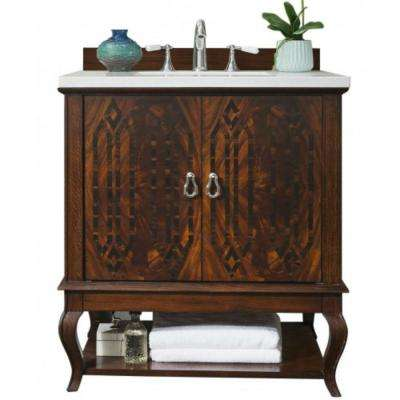 Palm Beach 31 in. W Single Bath Vanity in Dark Amber with Solid Surface Vanity Top in Arctic Fall with White Basin