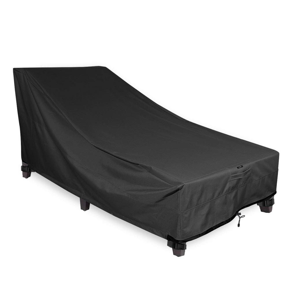 Khomo Gear Black Chaise Outdoor Weatherproof Heavy Duty Patio