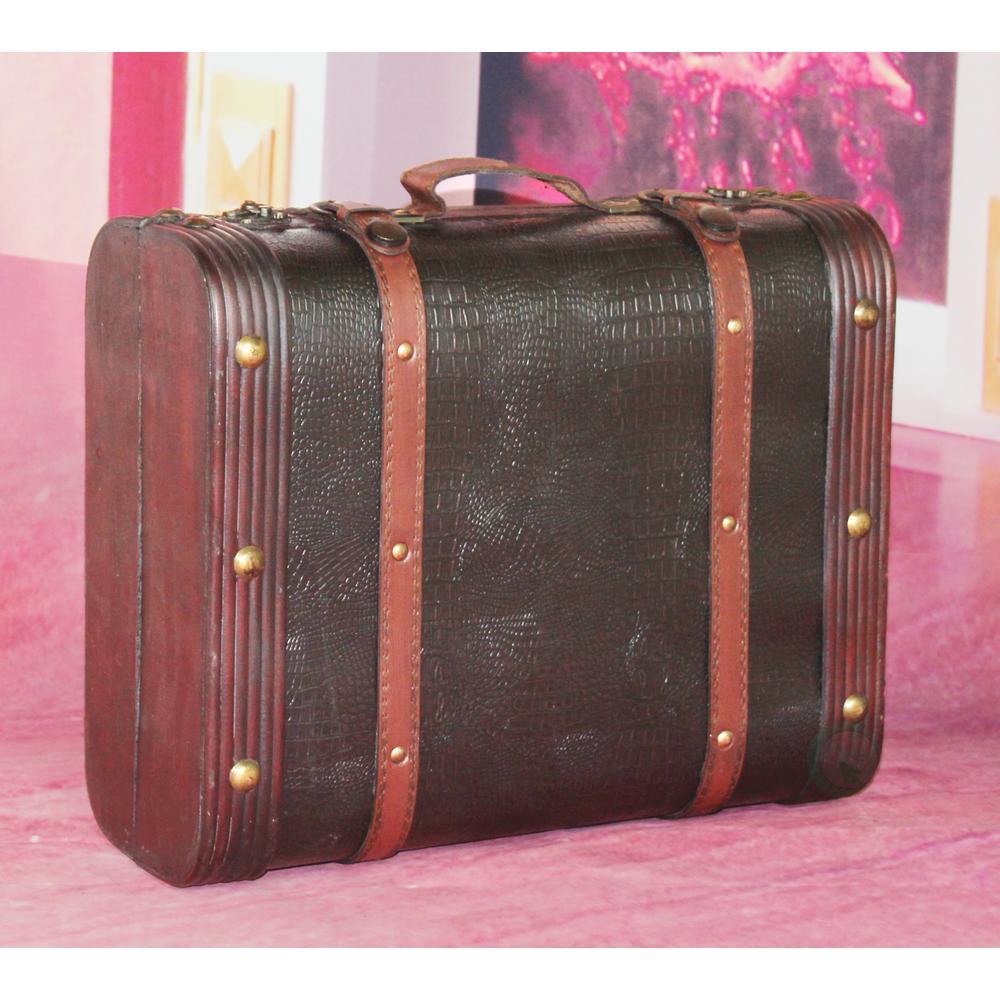 Suitcase Wooden Leather Decorative Luggage Treasure Box Old Fashioned  Storage
