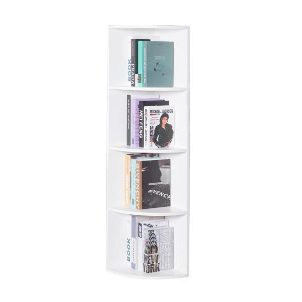 Basicwise White Wall Corner 4-Tier Shelves Bookcase QI003553.W