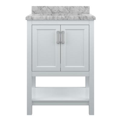 Everett 25 in. W x 22 in. Vanity Cabinet in White with Carrara Marble Vanity Top in White with White Basin