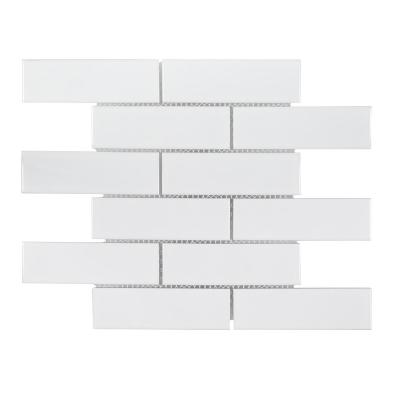 Classic 2 x 6 White 11.25 in. x 11.5 in. Interlocking Glossy Porcelain Wall and Floor Mosaic Tile (0.898 sq. ft./Each)