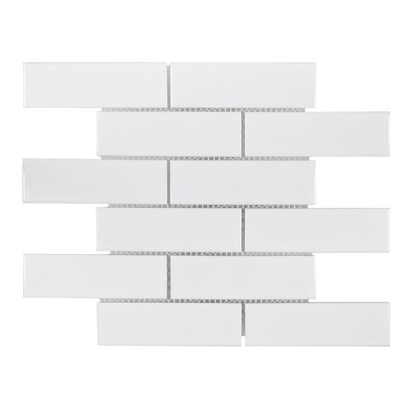 Jeffrey Court Classic 2 X 6 White 11 25 In X 11 5 In Interlocking Glossy Porcelain Wall And Floor Mosaic Tile 0 898 Sq Ft Each 96500 The Home Depot