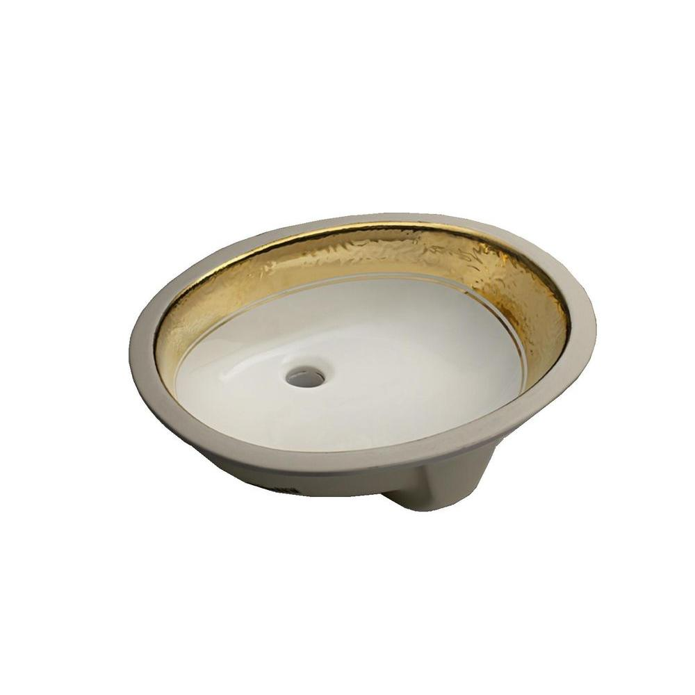 KOHLER Caxton Undermount Bathroom Sink in White and Polished Gold