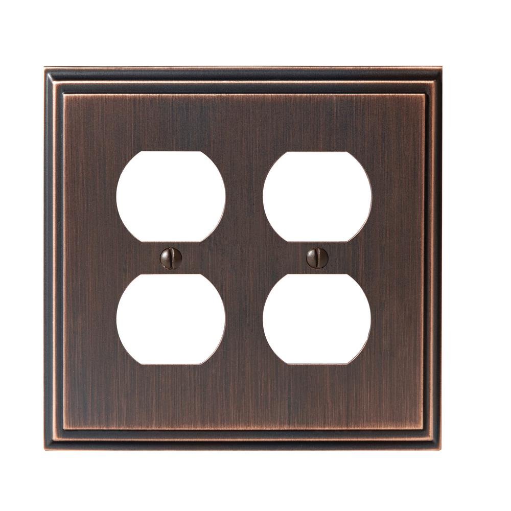 Mulholland 2-Duplex Outlet Wall Plate, Oil-Rubbed Bronze