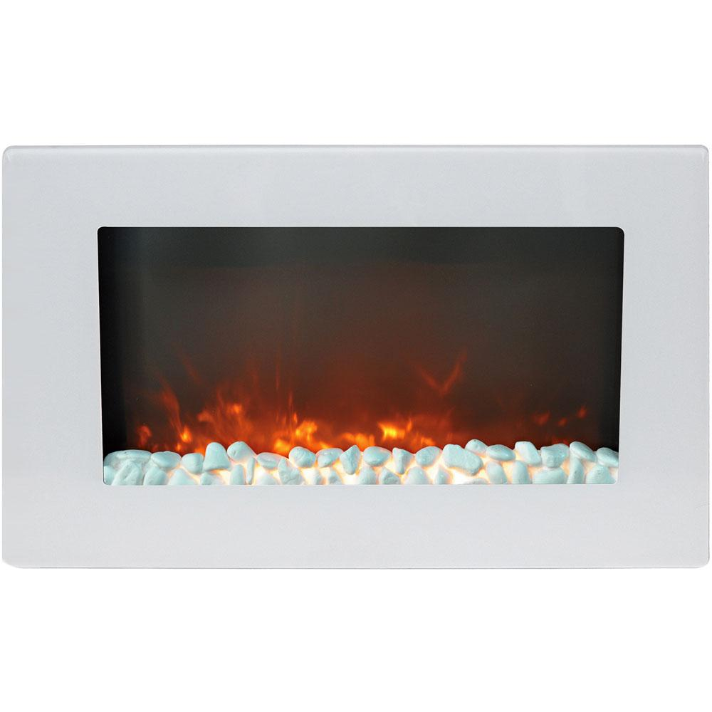 Wall Mount Electric Fireplace In White With Crystal Rock Display