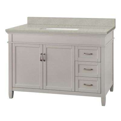 Ashburn 49 in. W x 22 in. D Vanity Cabinet in Grey with Engineered Marble Vanity Top in Dunescape with White Sink