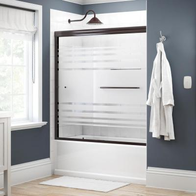 Simplicity 60 in. x 58-1/8 in. Semi-Frameless Traditional Sliding Bathtub Door in Bronze with Transition Glass