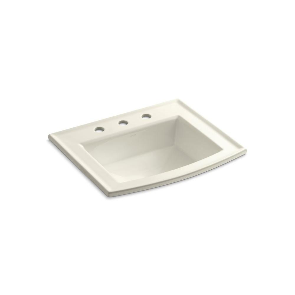 Archer Drop-In Vitreous China Bathroom Sink in Biscuit with Overflow Drain