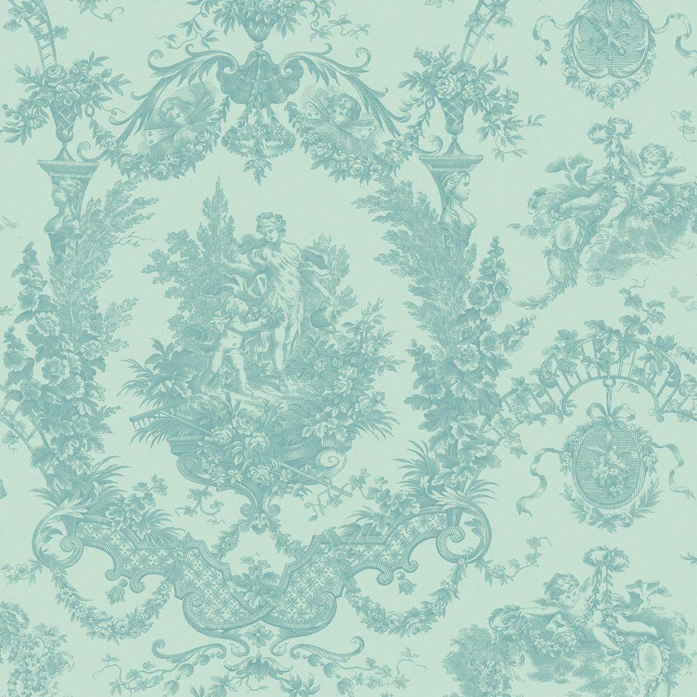 The Wallpaper Company 56 sq. ft. Seabreeze Cherub Damask Wallpaper-DISCONTINUED