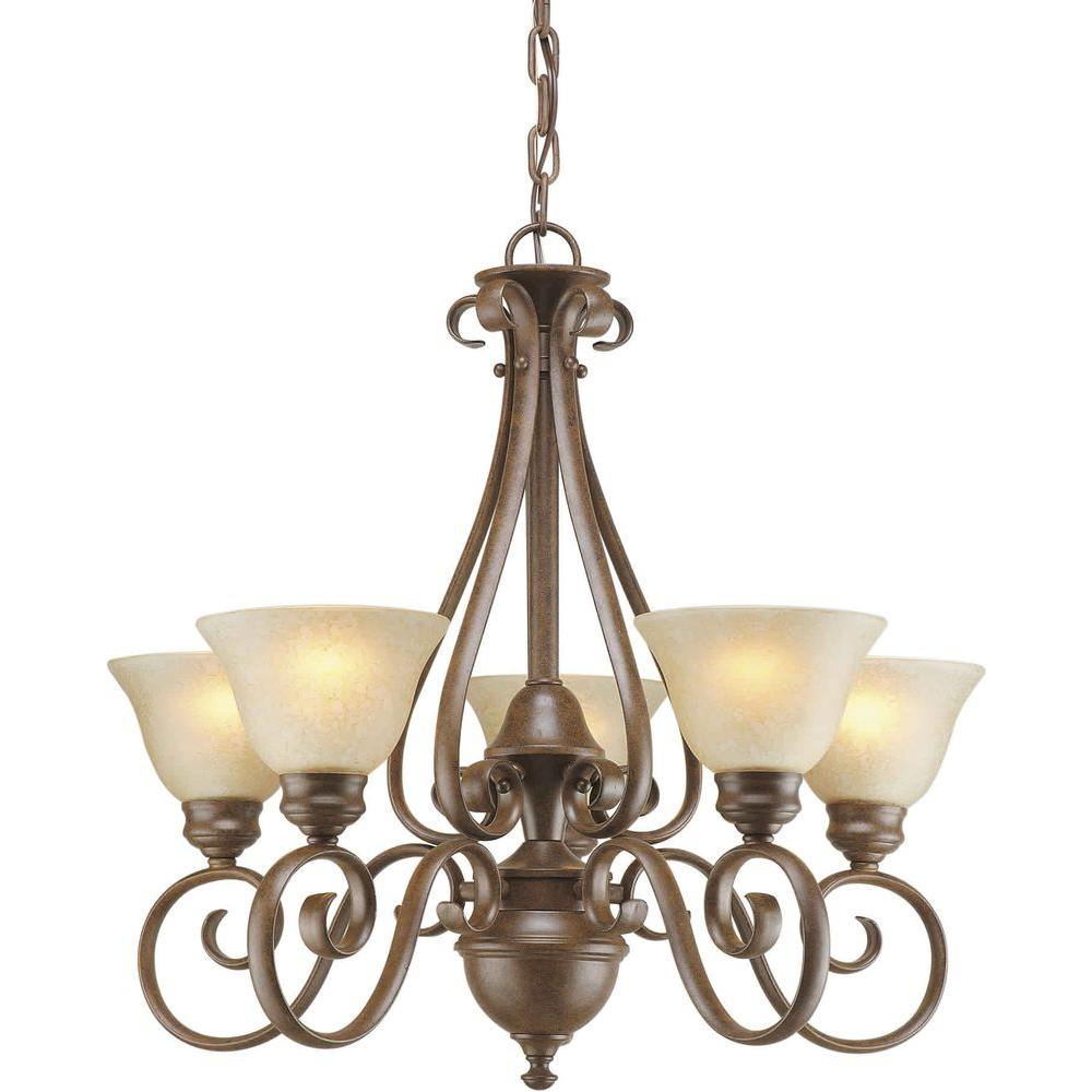Talista 5-Light Chestnut Chandelier with Gold Dust Glass