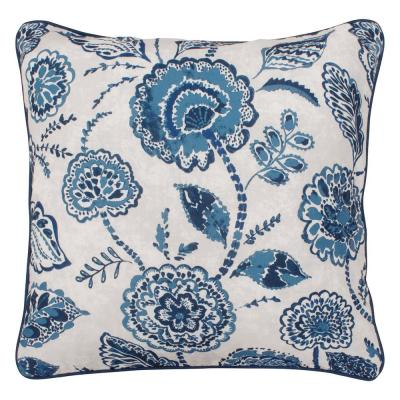 Venus Indigo Floral Down 20 in. x 20 in. Throw Pillow