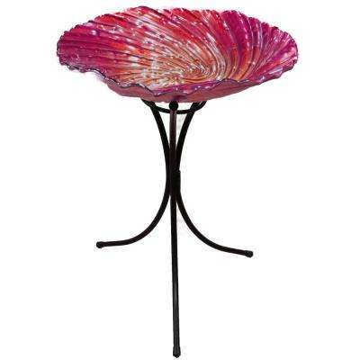 26 in. Red Birdbath with Stand