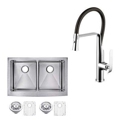 All-in-One Apron Front Stainless Steel 33 in. 50/50 Double Bowl Kitchen Sink with Faucet in Chrome Sink Kit