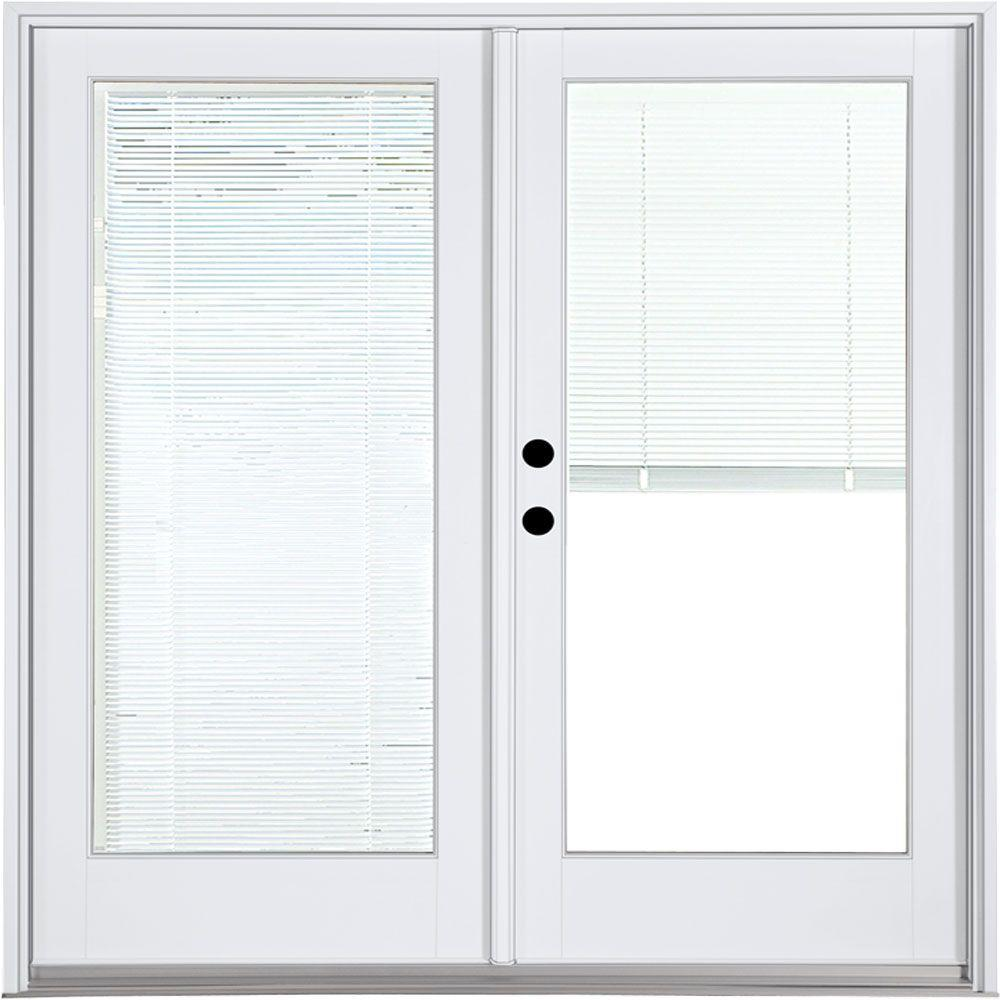 MP Doors 60 in. x 80 in. Fiberglass Smooth White Right-Hand Inswing Hinged Patio Door with Low E Built in Blinds