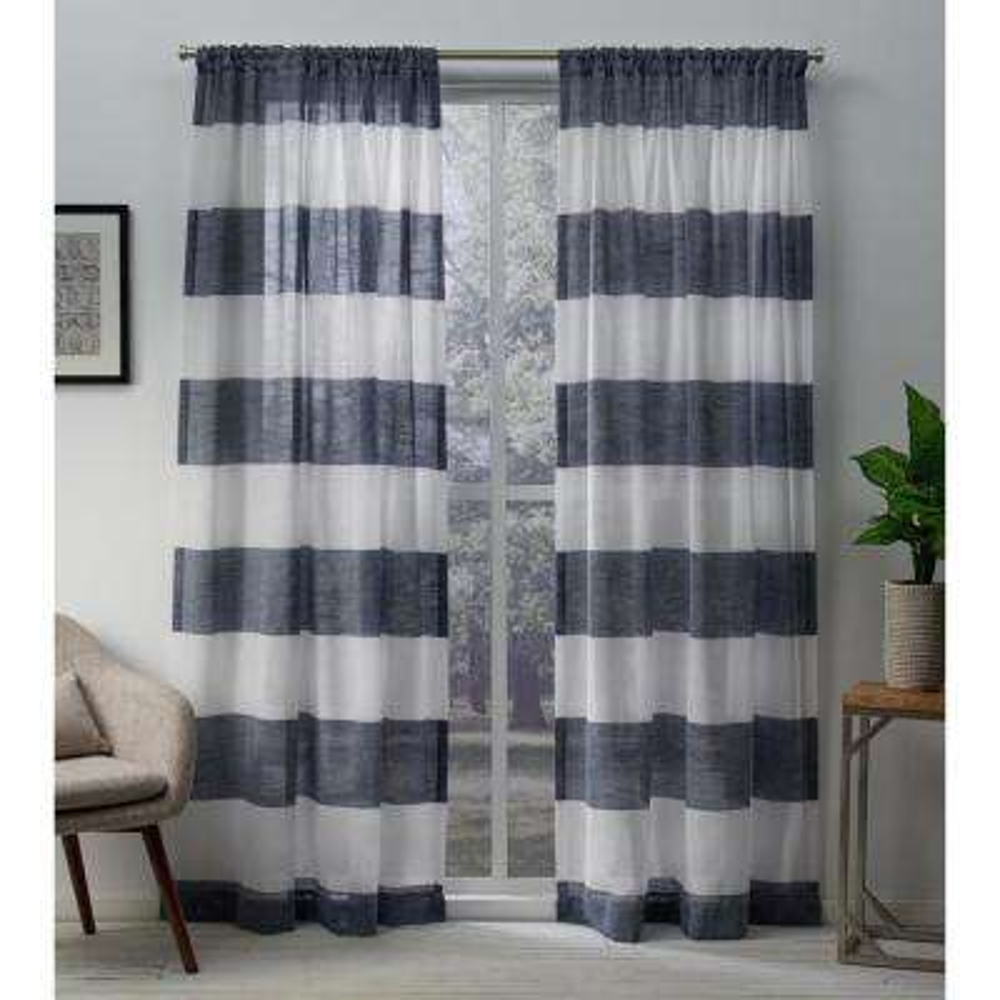 Darma Indigo Sheer Linen Rod Pocket Top Window Curtain
