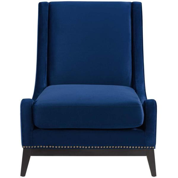 MODWAY Confident Accent Navy Upholstered Performance Velvet Lounge Chair