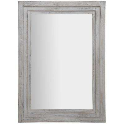 Tiered Barnwood Distressed White Decorative Mirror