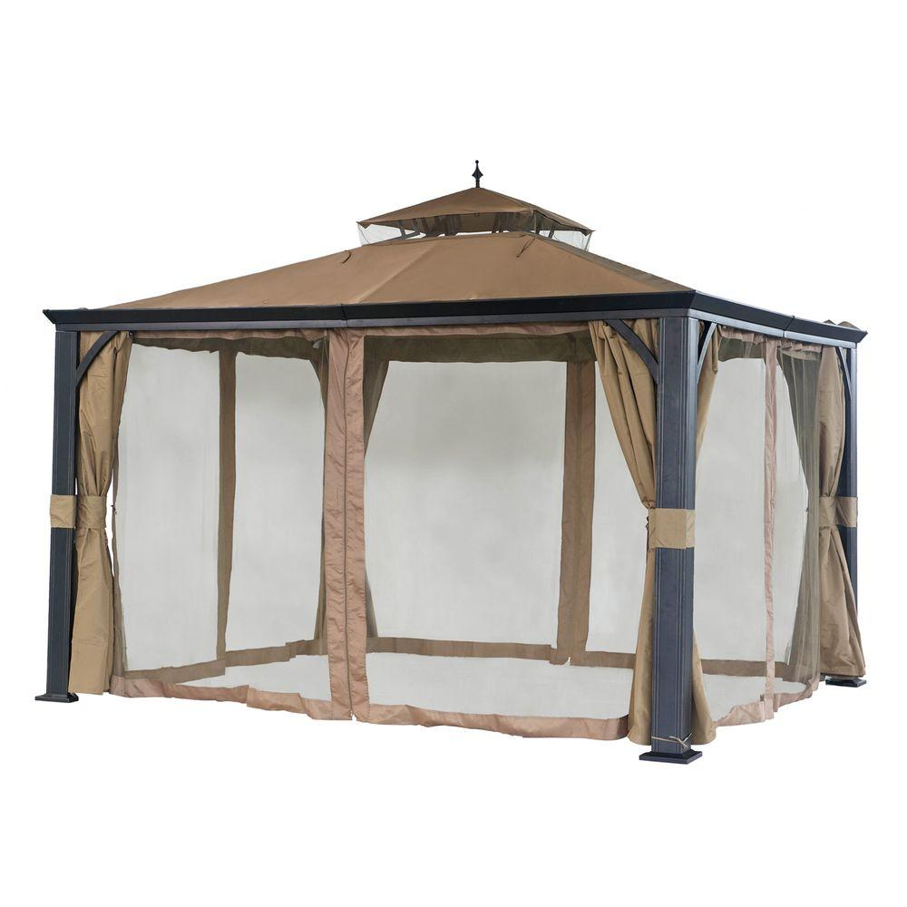 Sunjoy monaco 10 ft x 12 ft beige steel soft top gazebo 110101002 the home depot - Build rectangular gazebo guide models ...