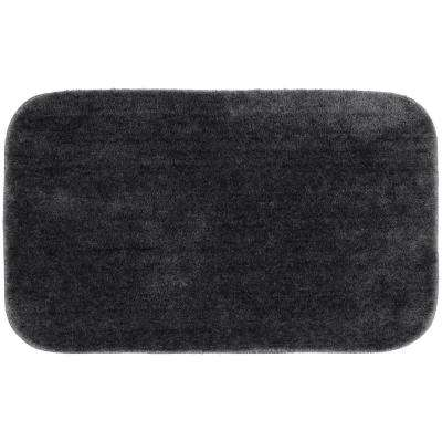 Traditional Dark Gray 24 in. x 40 in. Plush Nylon Bath Mat