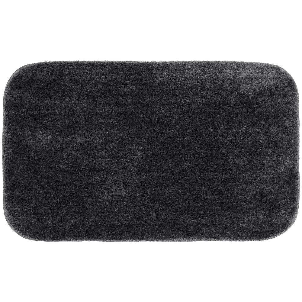 Traditional Dark Gray 24 in. x 40 in. Plush Nylon Bath Mat