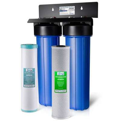 2-Stage Big Blue Whole House Water Filtration System with 20 in. Carbon Block and Iron Manganese Reducing Filter
