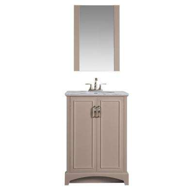 Madison 24 in W x 19 in. D Single Bath Vanity in Khaki with Engineered Stone Vanity Top with White Basin and Mirror