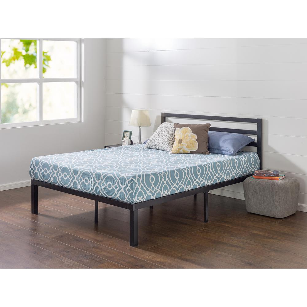 King Metal Platform Bed Frame With Headboard