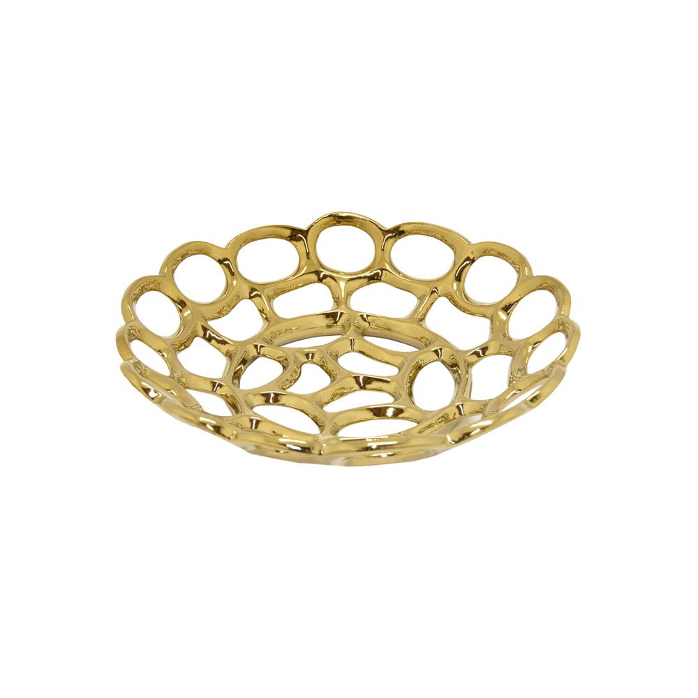 THREE HANDS Gold Ceramic Plate-71794 - The Home Depot