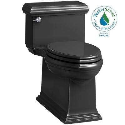 Memoirs Classic 1-Piece 1.28 GPF Single Flush Elongated Toilet in Black, Seat Included
