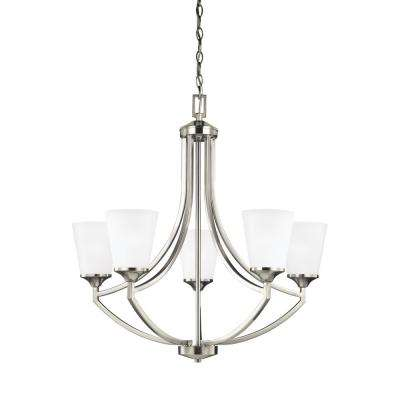 Hanford 5-Light Brushed Nickel Chandelier with LED Bulbs