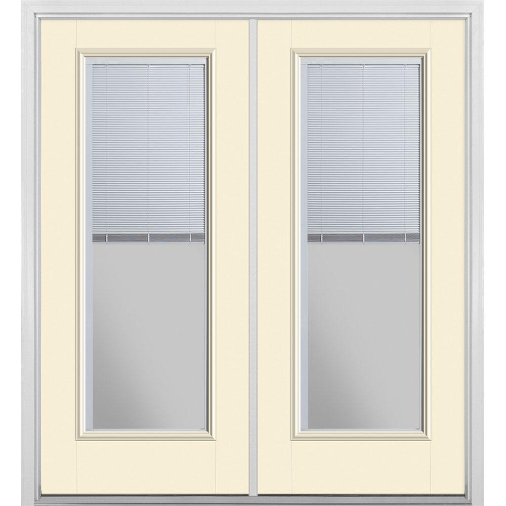 Masonite 72 in. x 80 in. Golden Haystack Fiberglass Prehung Left-Hand Inswing Mini Blind Patio Door with Brickmold