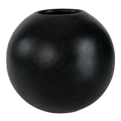 18 in. D Semi-Gloss Black Composite Orb Planter