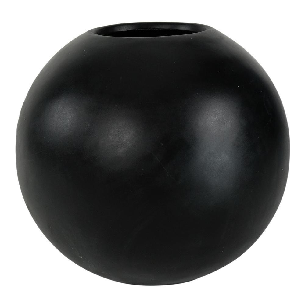 18 in. D Semi-Gloss Black Composite Orb Planter