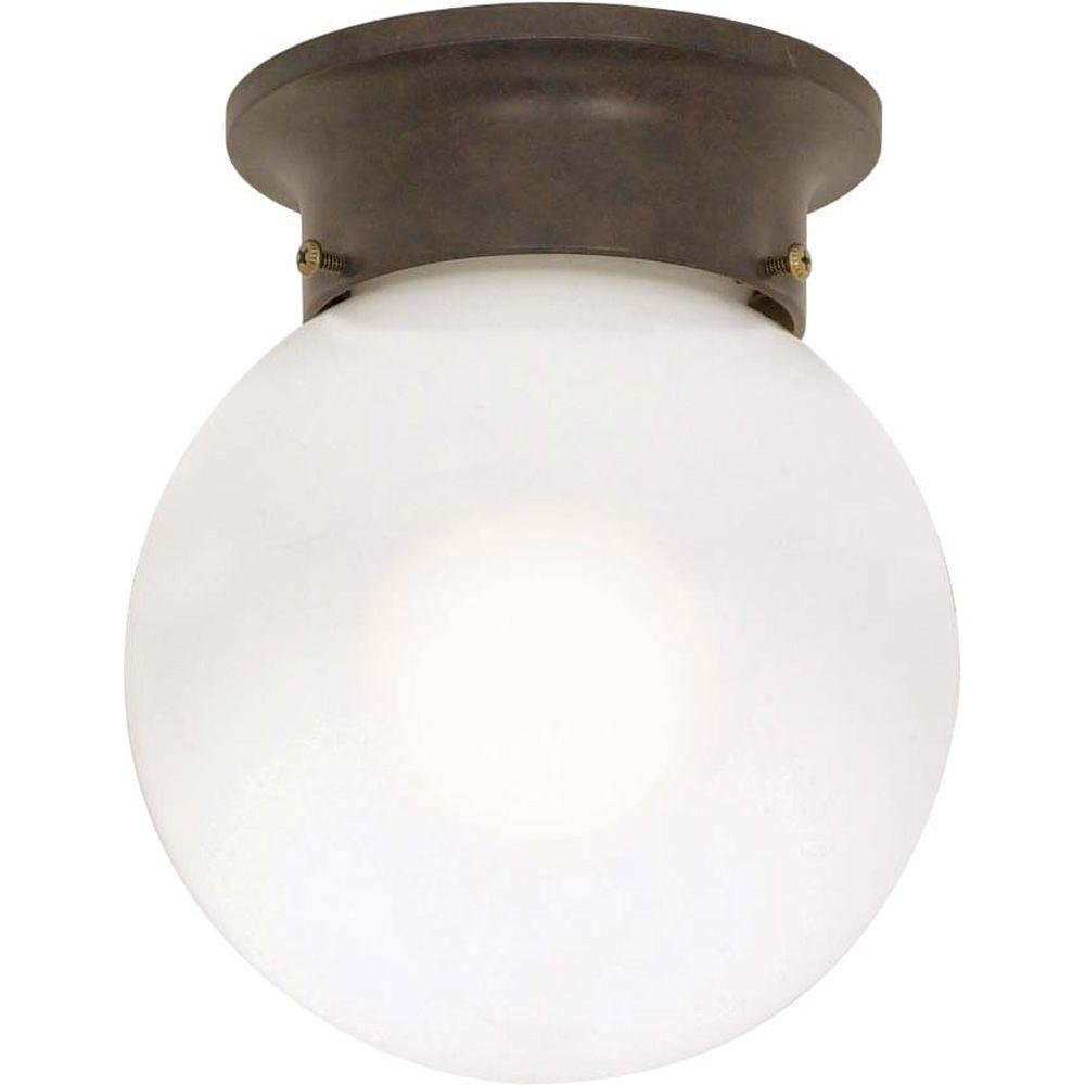 Glomar Elektra 1-Light Olde Bronze Flush Mount with White Glass